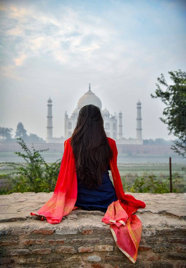 Taj Mahal 7th wonder of the world from Mehtab Bagh view