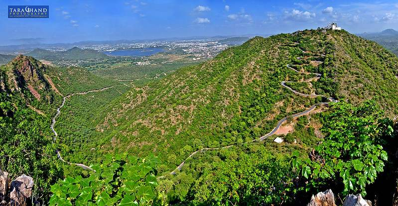 VIew of Udaipur city of lakes from Sajjangarh fort also know as Monsoon palace
